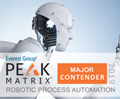 Major Contender in Everest Group RPA PEAK Matrix for 2019 Banner