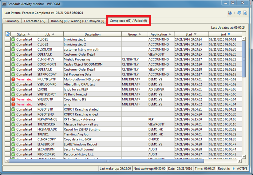 Schedule Activity Monitor (SAM) shows details for success and failure of as/400 jobs