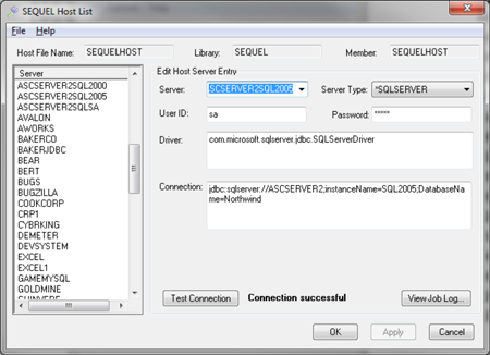 example of an sql server connection