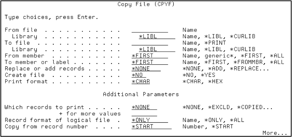 Prompt command syntax using the CPYF command then F4.
