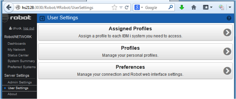 Configure user settings in Robot/NETWORK Web UI.