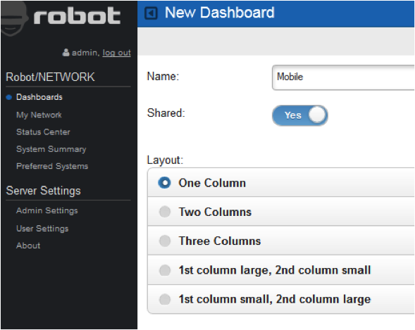 Format and customize Robot/NETWORK Web UI dashboard displays.
