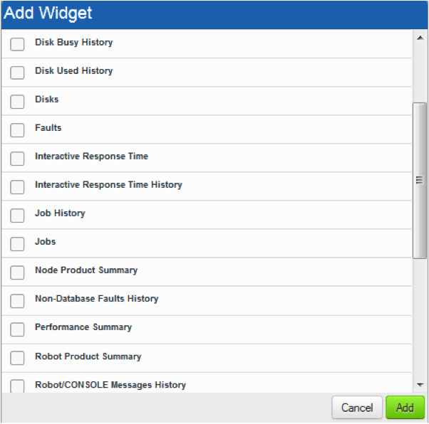 Select from many widget options in Robot/NETWORK Web UI.