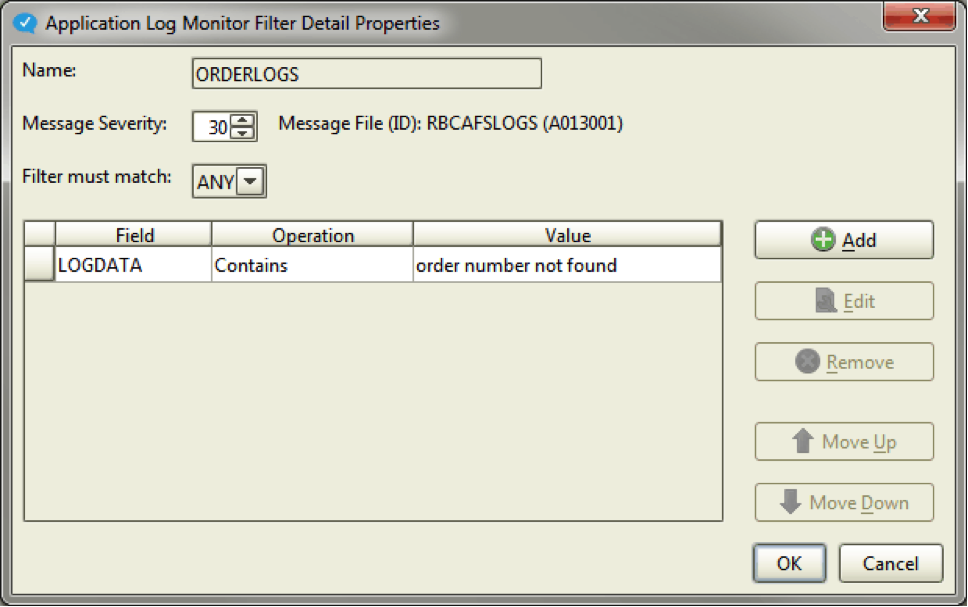 Application log monitor filter details properties in Robot CONSOLE version 6