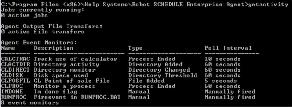Robot Schedule Enterprise getactivity command