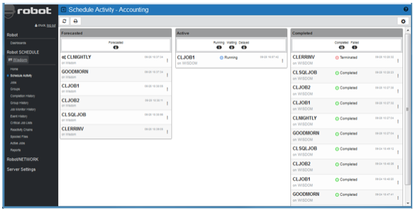 Schedule Activity Monitor in Robot SCHEDULE web interface