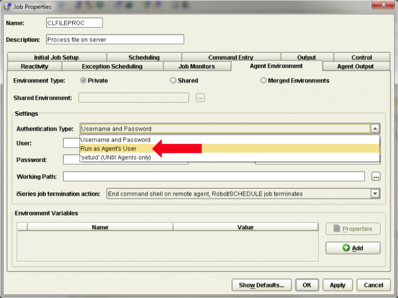 Setting your Authentication Type to Run as Agent's User