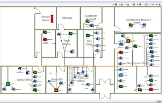 Personalize your network map and pick from colors, images, office floorplans, or download your own network map background.
