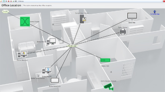 Hierarchical network maps allow you to drill into a specific office or floor sub-map, or back up into an overarching parent map.