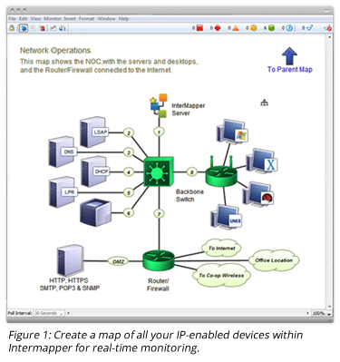 Create a map of all your IP-enabled devices within Intermapper for real-time monitoring.