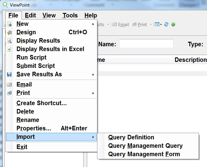 Import Query/400 query definitions in the GUI.