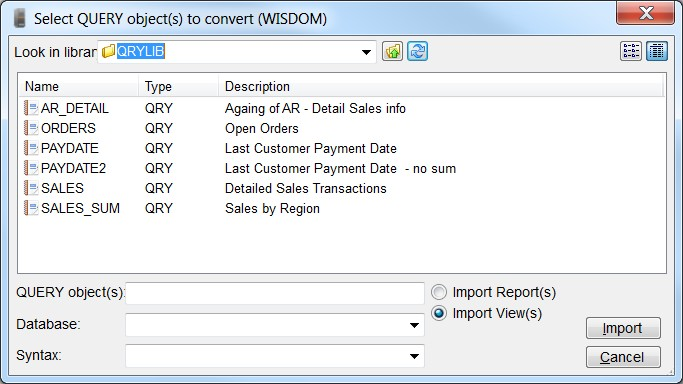 Convert Query/400 queries to Sequel views.