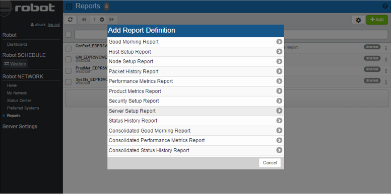 Predefined reports available in the Robot NETWORK web interface