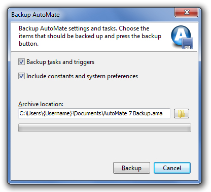 backup automate screen