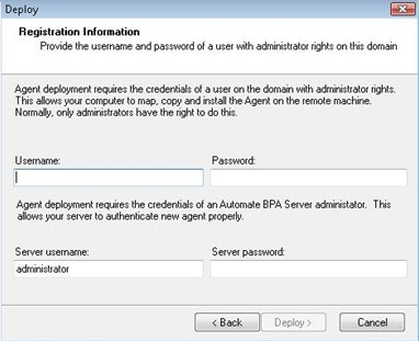 Automate BPA Server Setup deploy screen