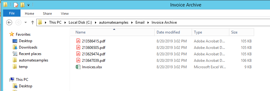 Saving invoices detached from email
