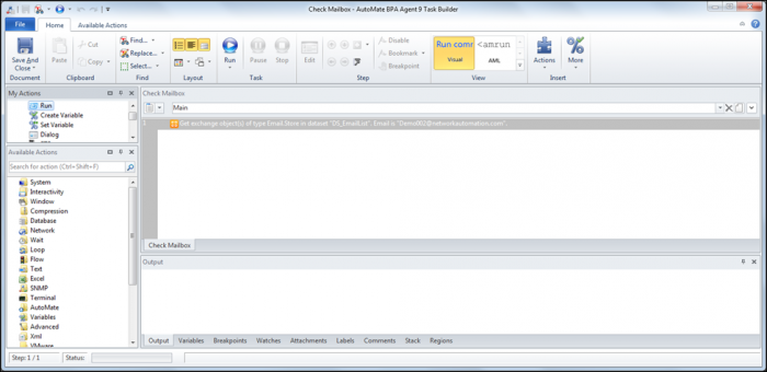 Exchange Action in Automate BPA