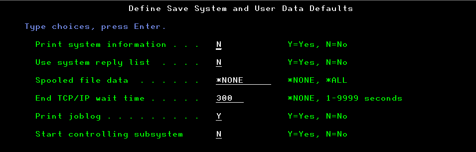 SAVE menu in IBM i 7.4