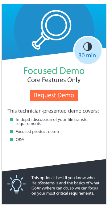 GoAnywhere Focused Demo is presented by a technician and covers an in-depth review of your requirements and Q&As. Choose Focused if you know what GoAnywhere does and you want to spend time on your requirements.