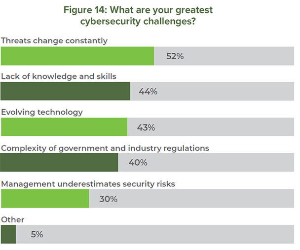 Figure 14: What are your greatest cybersecurity challenges?