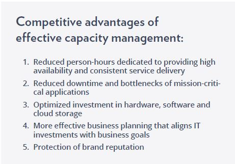 Competitive advantages of effective capacity management