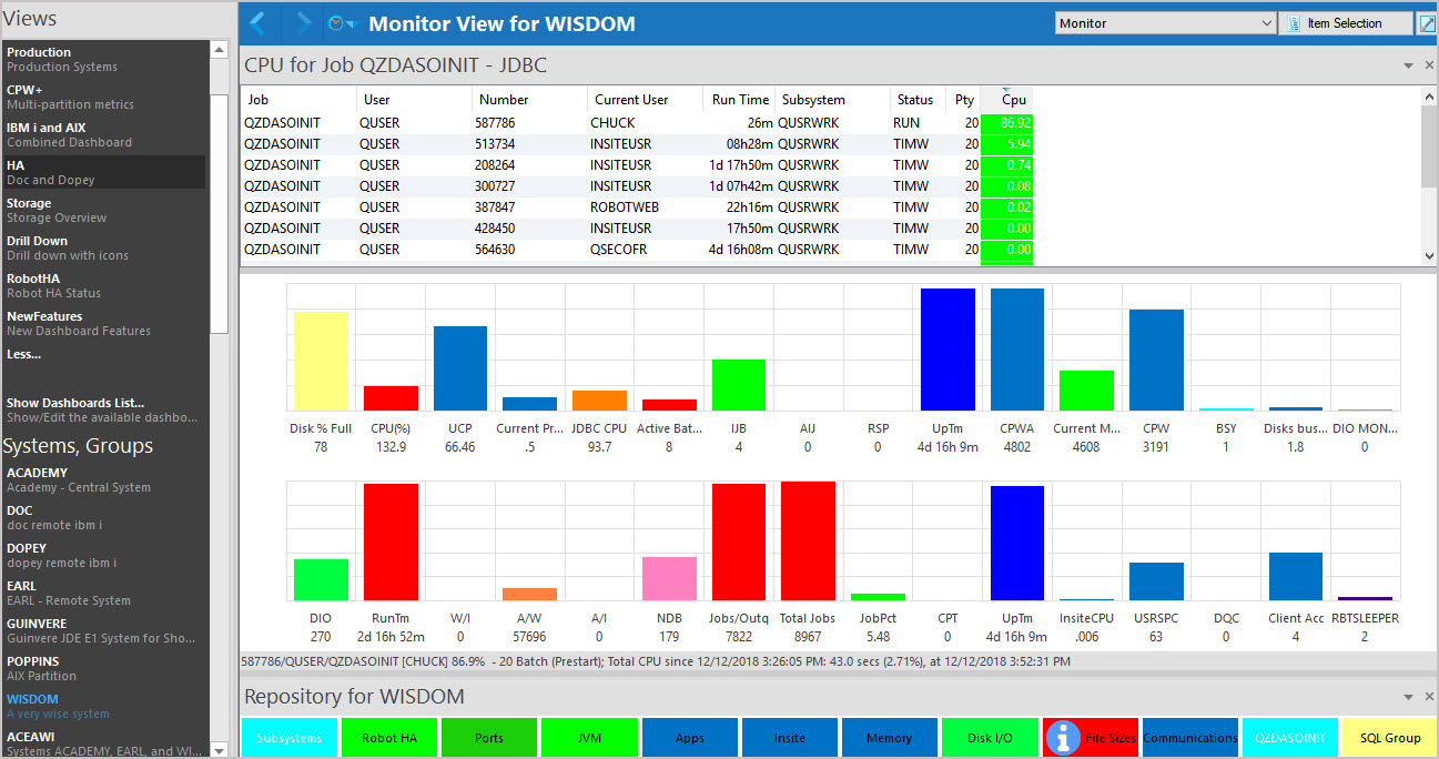 In Robot Monitor, you can drill down to those jobs consuming the most CPU, I/O, temporary storage, and other indicators, gaining insight into those processes impacting system and application performance.