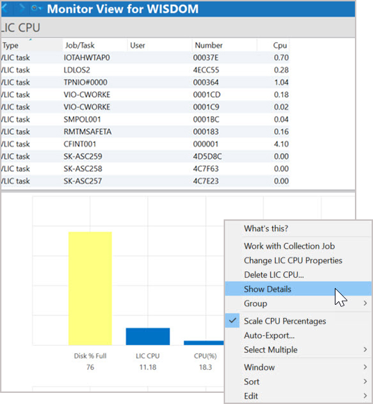 Show Details for CPU in Robot Monitor software for IBM i