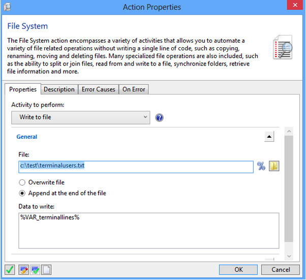 Action Properties Window -File System