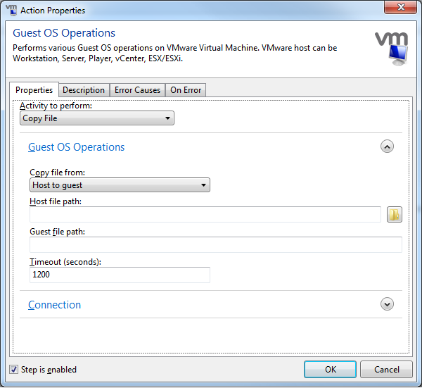 Screenshot of the new VMware Guest Operations Action
