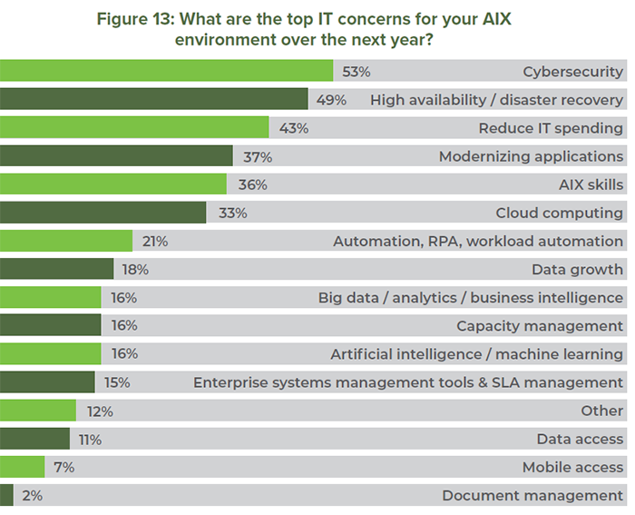 Figure 13: What are the top IT concerns for your AIX environment over the next year?