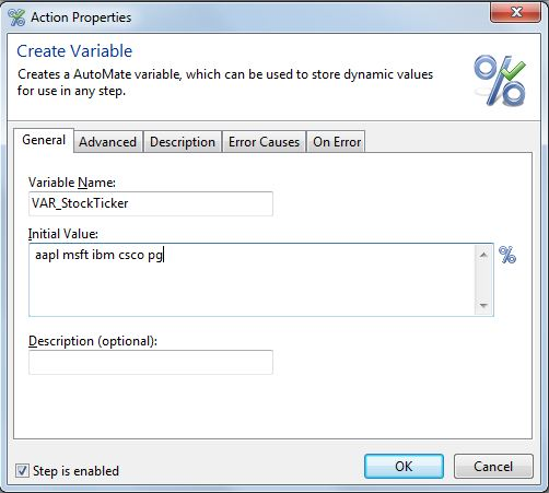 Yahoo Extract Table Task - Create Variable