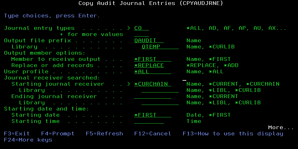 Obtain IBM i audit journal entries using the CPYAUDJRNE command