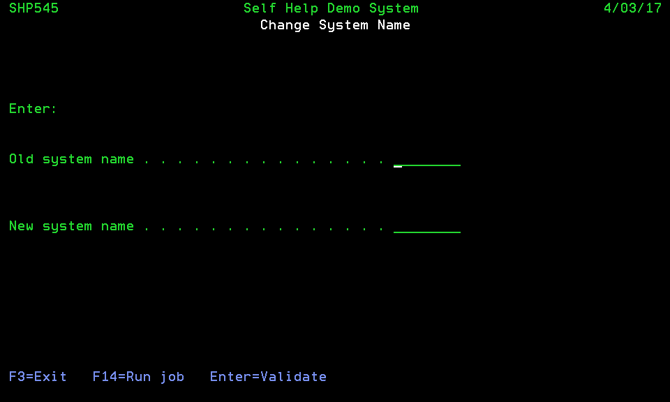Change System Name command