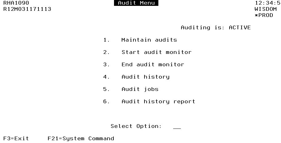 Audit Menu in Robot HA showing that automatic auditing is active.
