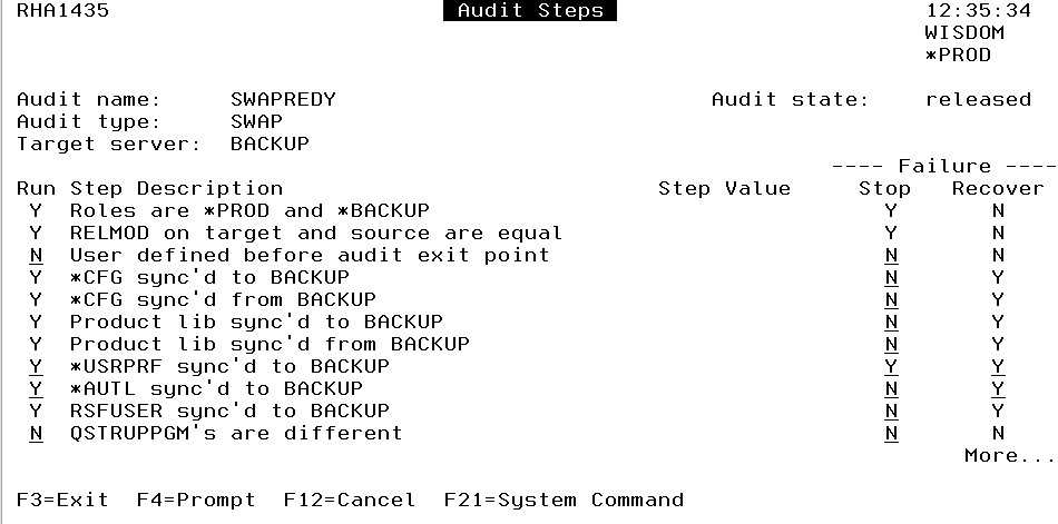 You decide which audit steps Robot HA should run.