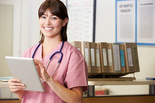 With electronic document management, it's easy for nurses like Jackie to view documents on tablets