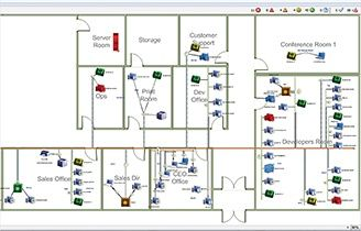 Pick from colors, images, office floorplans, or download your own network map background.