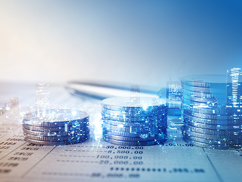 Staples of the finance world—financial documents and money