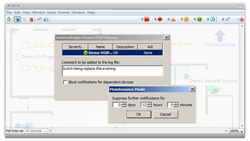 Acknowledge conditions window within the Intermapper software tool