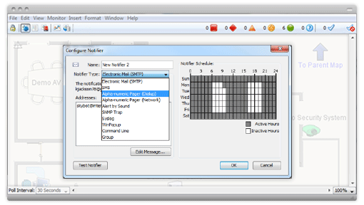 Notifier configurer window for setting exception-based alerts within the network monitoring tool