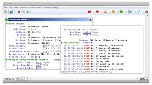 Intermapper device status windows show uptime, availability, packet loss, and more network monitoring data