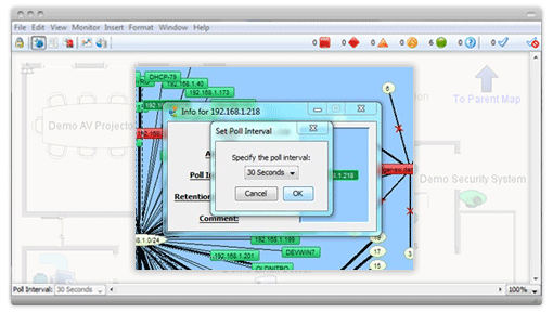 Intermapper polling tool set at 30 seconds for near real-time network monitoring