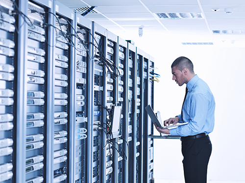 Technology company data center monitored by network monitoring software