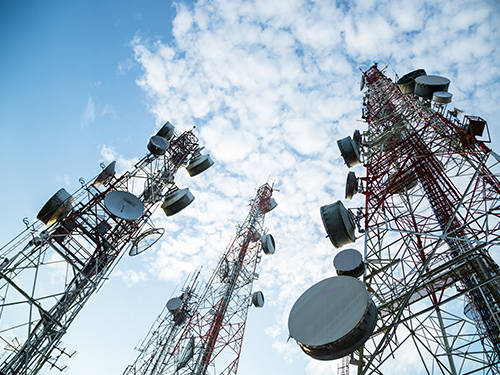 Telecommunications company towers providing reliable service to customers
