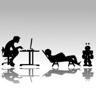 silhouettes of people working