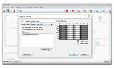 Notifier configurer window for setting exception-based alerts within your network monitoring software