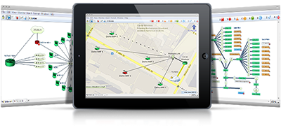 The Intermapper network mapping tool showing devices and how they connect