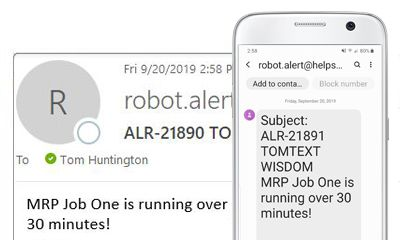 Receive notification when iSeries jobs do not run as expected on Robot Scheduler