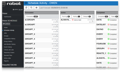 View job schedule details in the Schedule Activity Monitor