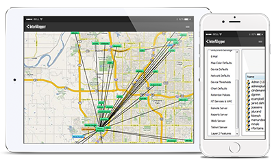 Real-time network views from a tablet and smartphone for easy remote access to the Intermapper server